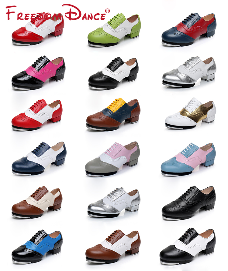 2021 Women Men Full Grain Leather Jazz Tap Dance Shoes Vintage Style Lace Up Soft Split Soles Tap Character Shoes