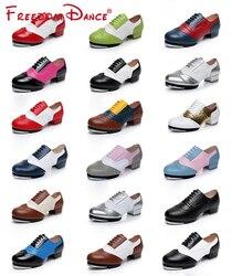 2021 feminino masculino cheio de grãos de couro jazz tap sapatos de dança estilo vintage laço-up macio split soles tap sapatos de caráter