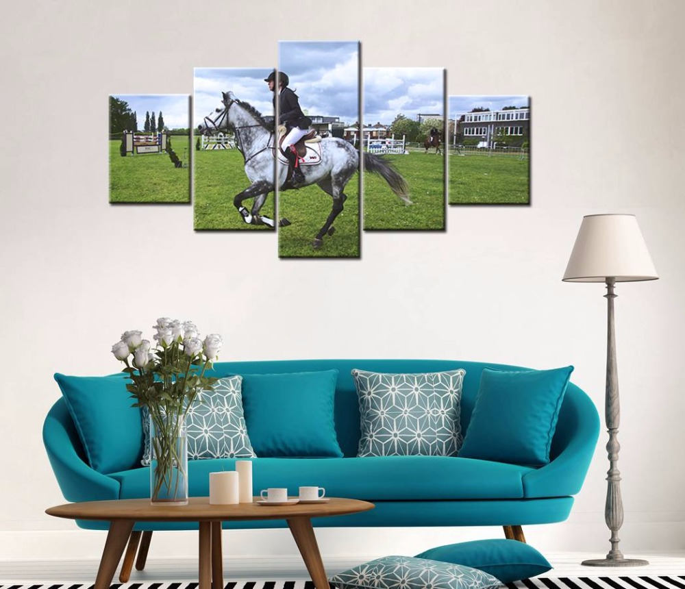 online get cheap horse framed art aliexpresscom  alibaba group - painting frame art poster wall picture home decor print on canvas  panelthe horse racing for living room modern printing type