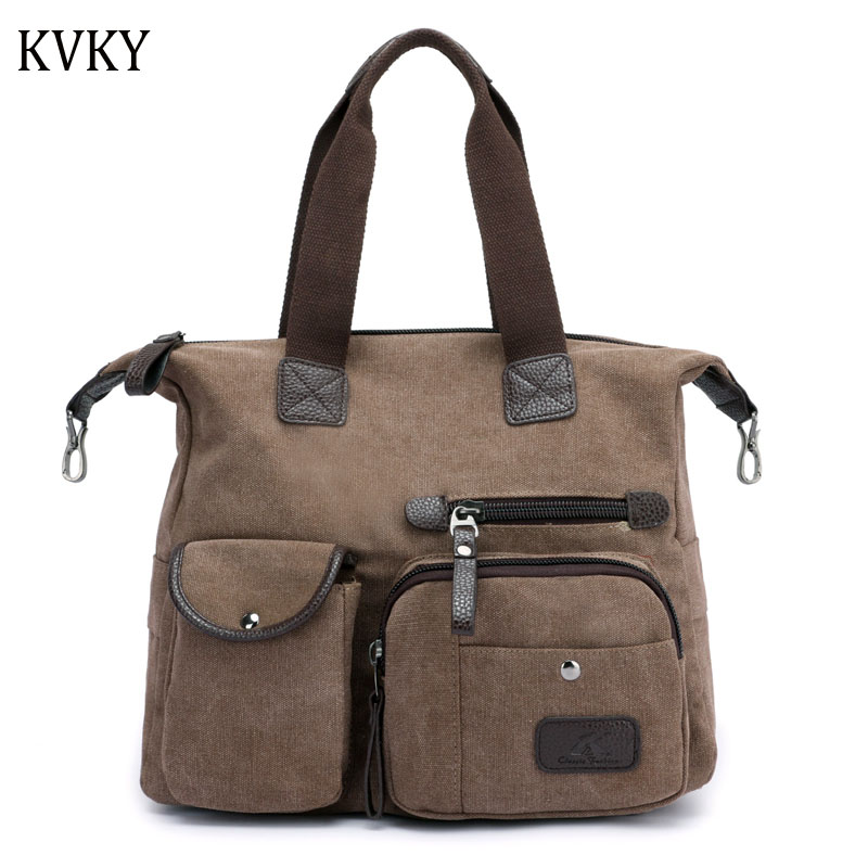 2018 Vintage Woman Canvas Bags Casual Shoulder Bag Fashion Portable Big Tote Female high quality Handbag Lady Messenger Bags