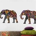 Elefante padrão de Flor Adesivos de Parede Removível Do Decalque Home Decor Papel De Parede PVC estilo Étnico Original Sala de estar Decoração 2016 Mais Novo