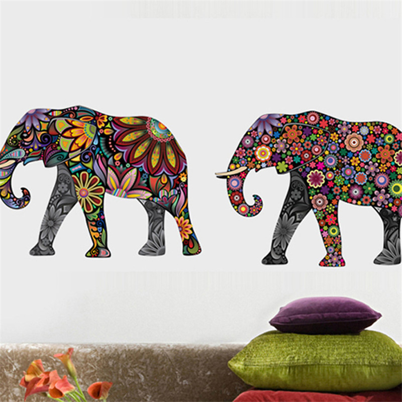 Elephant Flower pattern Wall Sticker Removable Decal Home Decor Түсқағаздар Этникалық бірегей стиль PVC Living Room Decor 2016 Ең жаңа