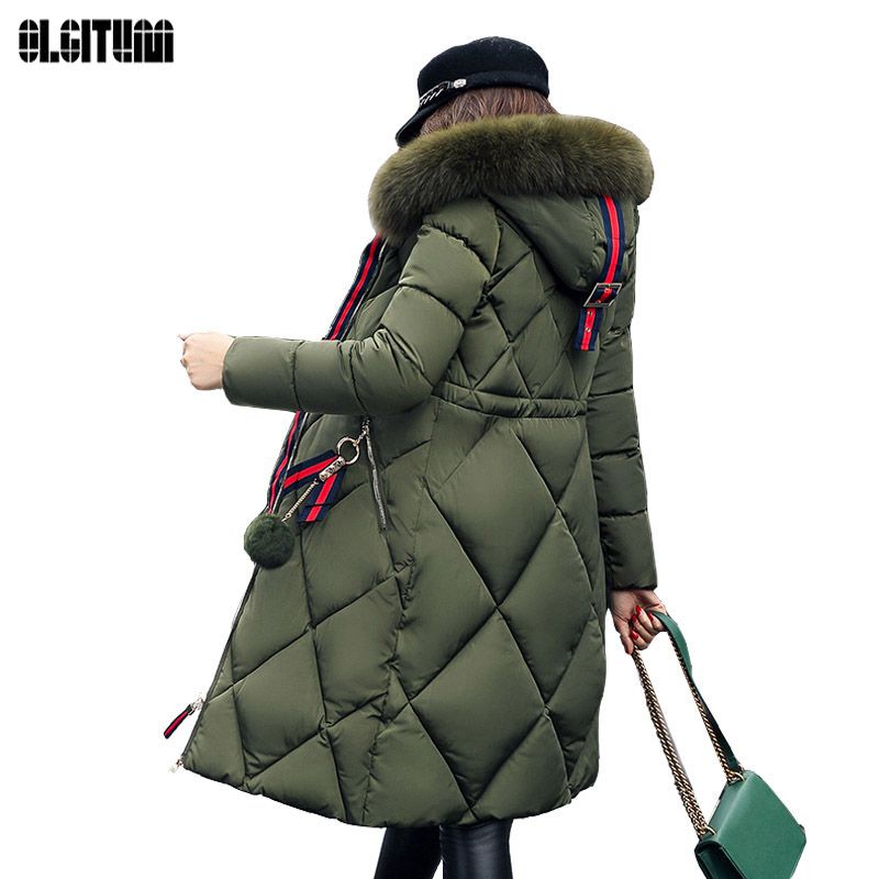 Women's Down 2019 Big Fur Winter Jacket Women's Cotton Coat Students Jacket Loose Long Thickened Jacket Hooded Coat CC347