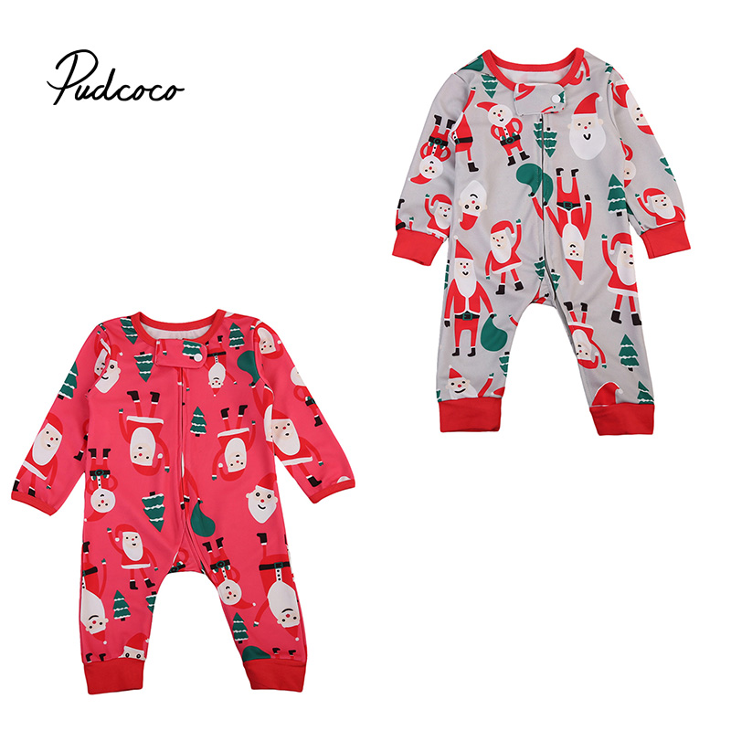 Baby Kids Christmas Long Sleeve Zipper Romper Infant Baby Boys Girls Xmas Rompers Jumpsuit Festivel Santa Printing Clothes купить недорого в Москве
