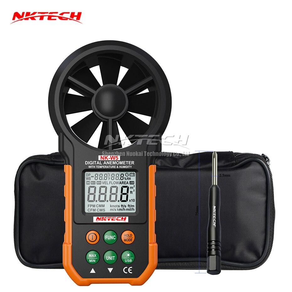 NKTECH NK-W5 Numérique Anémomètre Vent Compteur de Vitesse Débit D'air Ambiante Température Humidité USB Téléchargement Des Données Testeur 9999 Compte