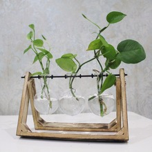 Vintage Style Glass Tabletop Plant Bonsai Flower Wedding Decorative Vase With Wooden Tray Home Decoration Accessories