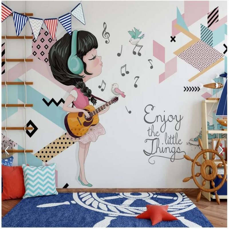 Custom mural wallpaper Children's room bedroom background wall paper Music guitar beauty fashion geometric photo wallpaper free shipping celebrity poster marilyn monroe ktv background wall stereo high quality wallpaper living room bedroom custom mural