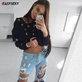 iEASYSEXY 2017 Autumn Spring Winter Women Lace Up Sweatshirt Knitted Hoodies Pullover Ladies Hollow Out Long Sleeve Crop Tops