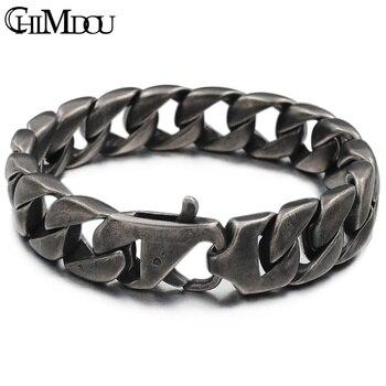 a87acf519e7b CHIMDOU Punk brazalete de acero inoxidable hombres cadena de enlace  bizantino oro Color plata pulseras para hombre 2018