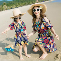 2018 summer style off shoulder girls dress kids sundress mom and daughter dress family clothes fashion women dresses for beach