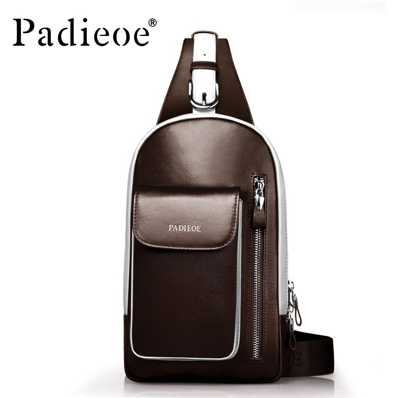 Padieoe Genuine Leather Men's Shoulder  Bag Casual Chest Bag Shoulder Sling Backpack Fashion Crossbody Bags Brown Blue Black рюкзаки кенгуру casualplay sling bag blue monkey