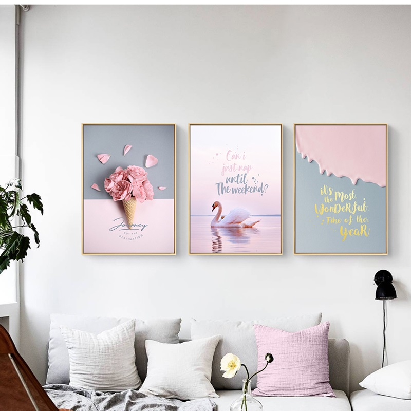 Penguin Cartoon Sweet Animal Baby Favors Wall Poster Canvas Painting Home Decor