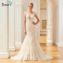 Dressv aplikacje elegancka suknia ślubna z dekoltem w szpic syrenka długość rękawy cap bridal outdoor & church suknie ślubne typu trąbka