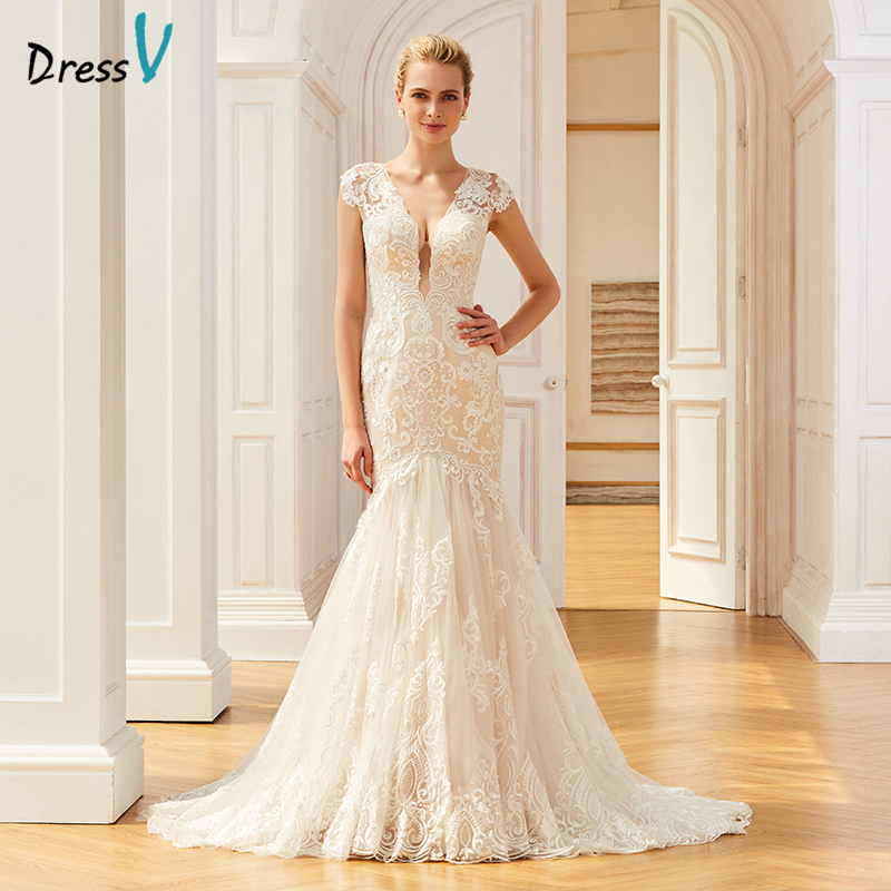 Dressv Appliques Elegant V Neck Wedding Dress Mermaid Floor Length Cap Sleeves Bridal Outdoor&church Trumpet Wedding Dresses