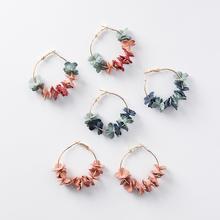 Isabella Fabric Flowers Hoop Earrings
