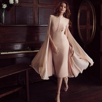 Ocstrade Pink Round Neck Long Sleeve Midi Mesh Mandarin Sleeve Fashion Bodycon Dress HB5509 Pink