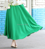 Free Shipping Blend Linen Long Skirt Spring Summer Skirts Chinese Style Bohemian Green Skirts Casual Bandage