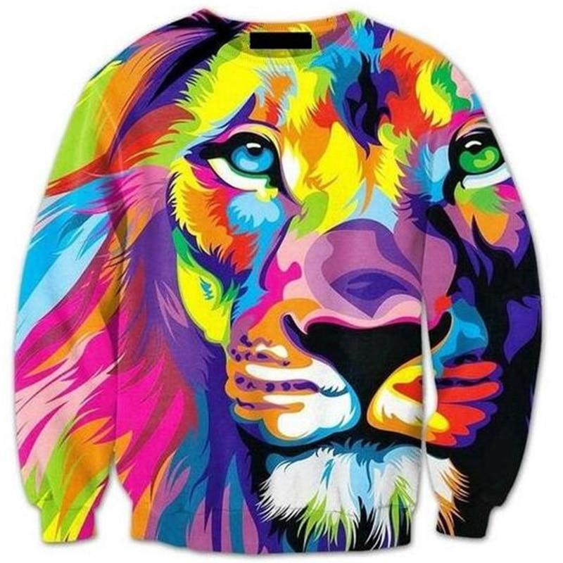Cloudstyle 2017 3D Sweatshirts Men Crewneck Pullover 3D Animal Tiger Print Plus Size 5XL Loose Casual