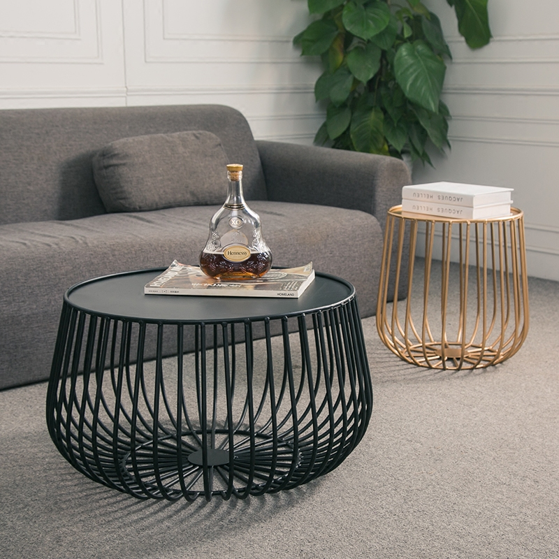 Nordic modern minimalist wrought iron coffee table living room creative pumpkin coffee table golden bird cage side a few round c