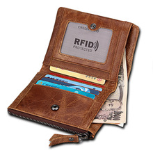 Zipper Genuine Leather Crazy Horse Anti-theft Wallet Short Wallet Brown Real Skin Wear Resistant Compact Practical Small Pures