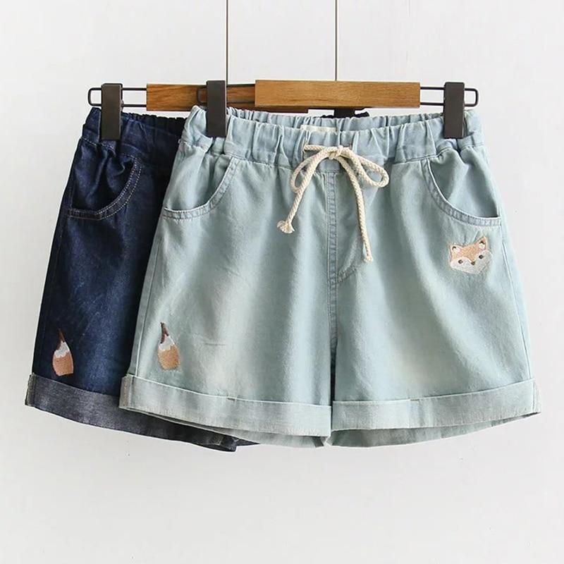 Summer Japanese Mori Girl Sweet Cowboy Shorts Women Cute Fox Embroidered Drawstring Pocket Denim Female Kawaii Shorts Z109