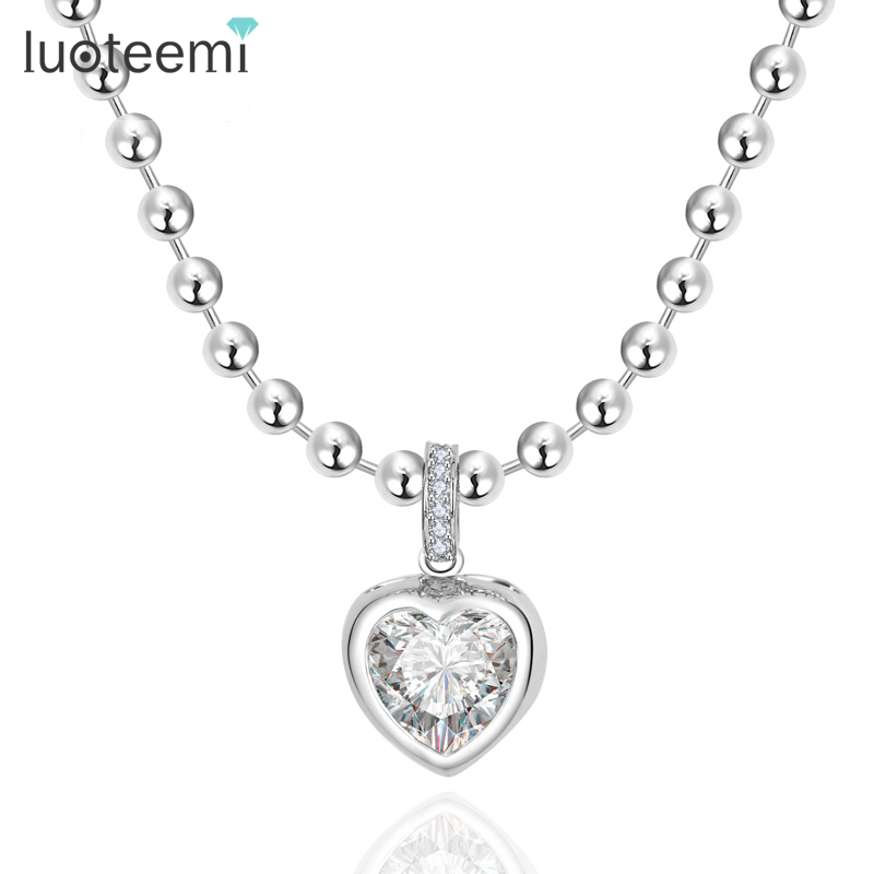 LUOTEEMI Heart Pendant Necklace Luxury Cubic Zirconia Crystal Micro Paved Fashion Jewelry for Women Love Valentines Gift
