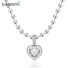 LUOTEEMI Heart Pendant Necklace Luxury Cubic Zirconia Crystal Micro Paved Fashion Jewelry for Women Love Valentines
