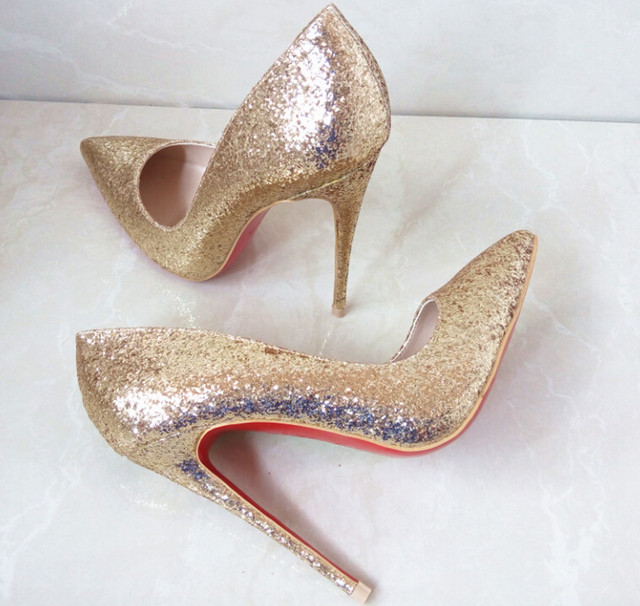 Luxury Brand Women Sex High Heels Shoes Red Bottom Shoes Pointed Toe Pumps  Gold Glitter Wedding
