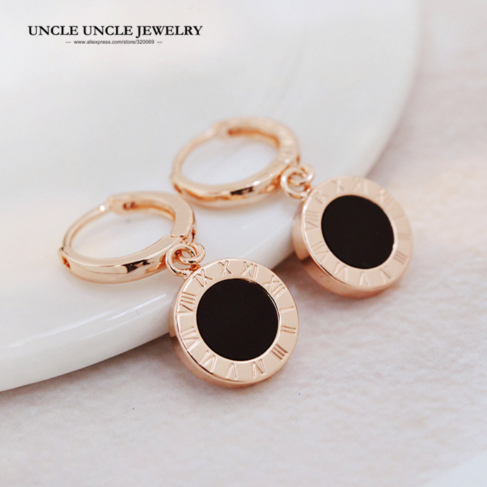 Classic Style Brand Design Rose Gold Color Black Round Enamel Woman Drop Earring Wholesale