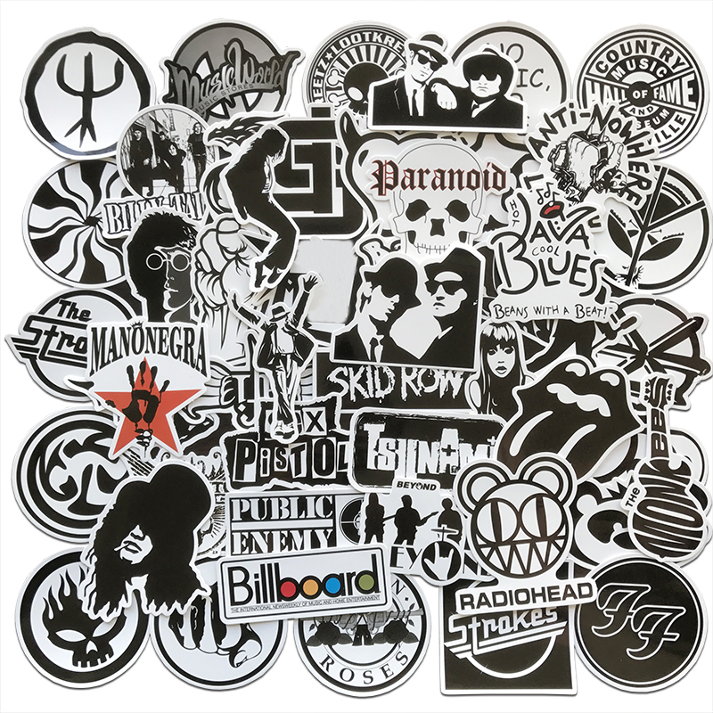 AQK 50Pcs/Lot Rock Roll Band Music Black White Stickers Punk Cool Retro Guitar Skateboard Suitcase DIY TV Car Waterproof Decals