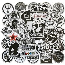 AQK 50 unids/lote banda de rock and roll Music negro blanco pegatinas Punk Cool Retro guitarra Skateboard maleta DIY TV Car pegatinas impermeables