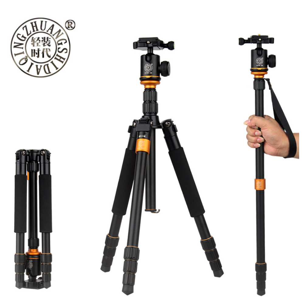 QZSD Q999S Professional Photographic Portable Aluminium Alloy Tripod Kit Monopod Stand Ball head For Travel DSLR CameraQZSD Q999S Professional Photographic Portable Aluminium Alloy Tripod Kit Monopod Stand Ball head For Travel DSLR Camera