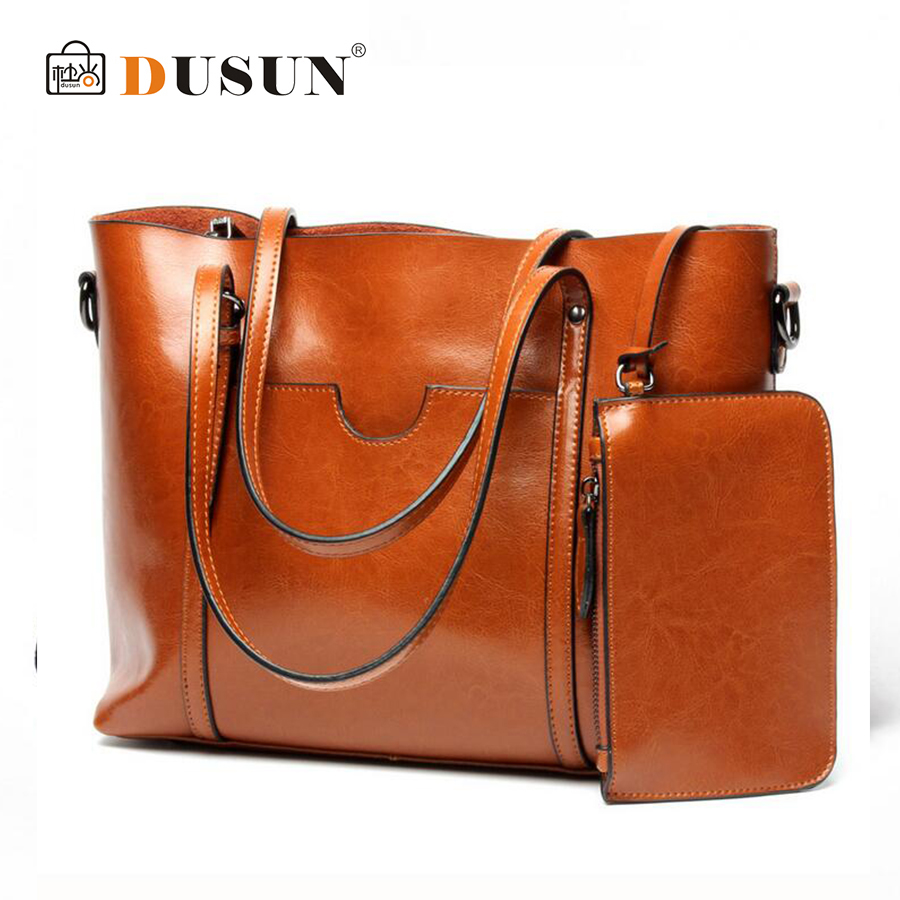 DUSUN New Women Retro Genuine Leather Tote Fashion Leisure Handbag Cow Leather Simple Shoulder Bags Female High Capacity Bag aetoo the new oil wax cow leather bags real leather bag fashion in europe and america big capacity of the bag