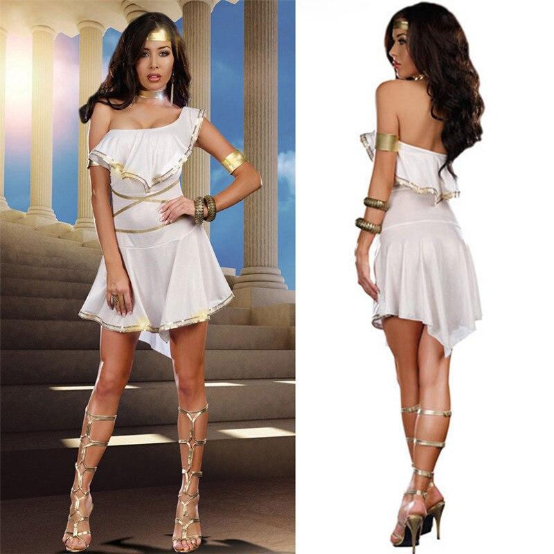 Women White Sexy Toga Venus Goddess Of Love Costume Greek -1729