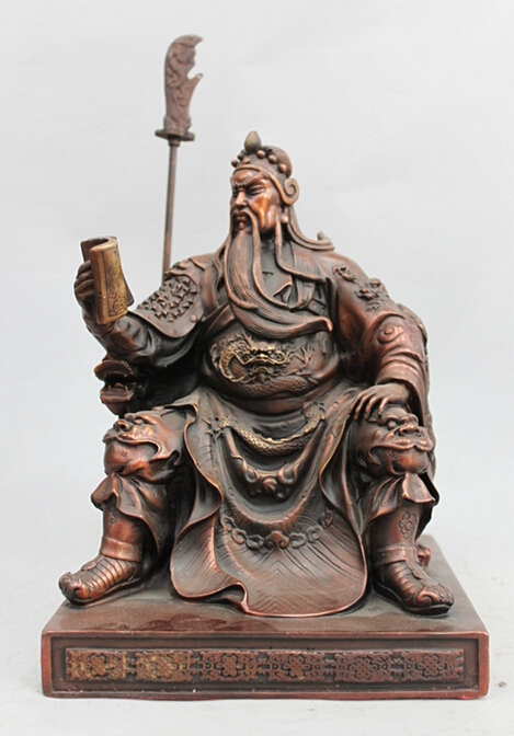wholesale factory China Pure Bronze Dragon Sit Guan Gong Guan Yu Dragon font b Knife b