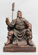 wholesale factory China Pure Bronze Dragon Sit Guan Gong Guan Yu Dragon Knife Warrior God Statue 6.6