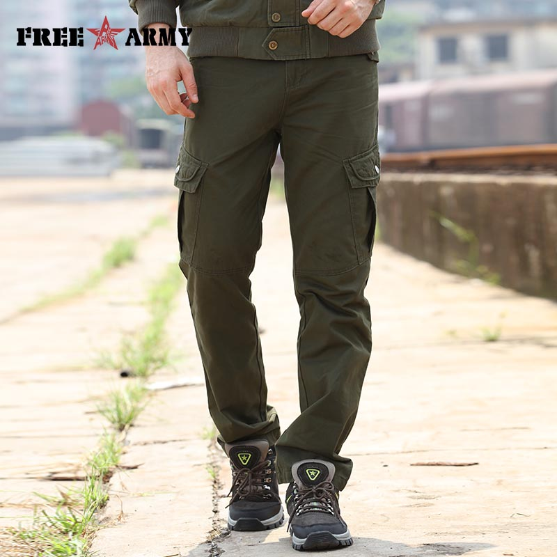 New 29 40 Size Mens Pants Cargo Casual Pockets Pants Army Green Sweatpants Military Full Length Male Pants Trousers Men Mk 7156A
