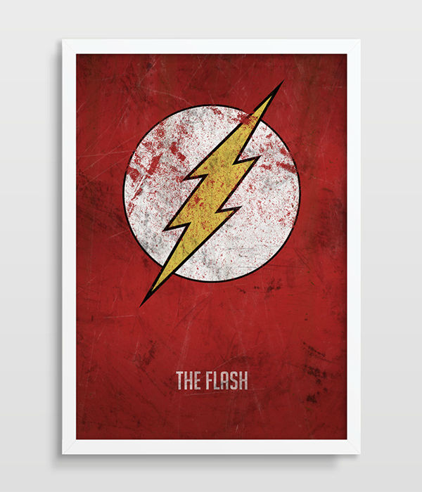 The Flash Poster Superhero Wall Art Distressed Art Print Dc Comics