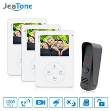 цены на Jeantone 4 Inch Video Doorphone Doorbell Intercom 1 Front Door Camera With 3 Indoor Monitors Pictures And Video Recording  в интернет-магазинах