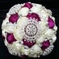 Artificial brillante perlas / Rhinestones / diamante Beige Bridal Bouquet invitaciones de boda para ocasión especial