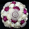 Shiny Artificial Pearls/Rhinestones/Diamond Beige Bridal Bouquet Wedding Accessories For Special Occasion
