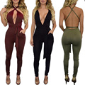 Fashion Design Elegant Pocket Rompers Womens Jumpsuit Women Sexy Backless Sleeveless Playsuit Bodysuits Bandage Jumpsuit