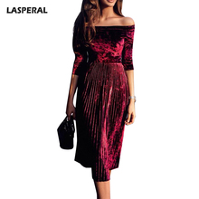 LASPERAL Autumn Sexy Slash Neck Velvet Pleated Dress Women Half Sleeve Slim Party Dress 2017 New Elegant Solid Vestidos Female