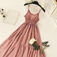 Young17 Women Spaghetti Strap Mid Long Dress Sexy Summer V Neck High Waist Pink Dot Casual Beach Party Dresses 2018 A Line Dress