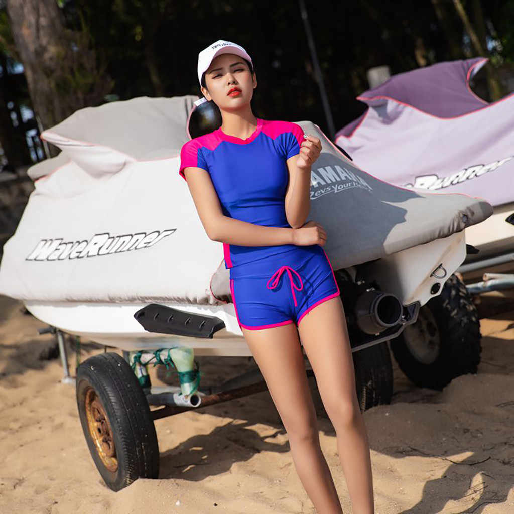 Ruam Penjaga Wanita Pakaian Renang Pendek Lengan Perlindungan Sinar UV Matahari UPF 50 + Ruam Penjaga TOP 2 Piece Swimsuit Set # TX4