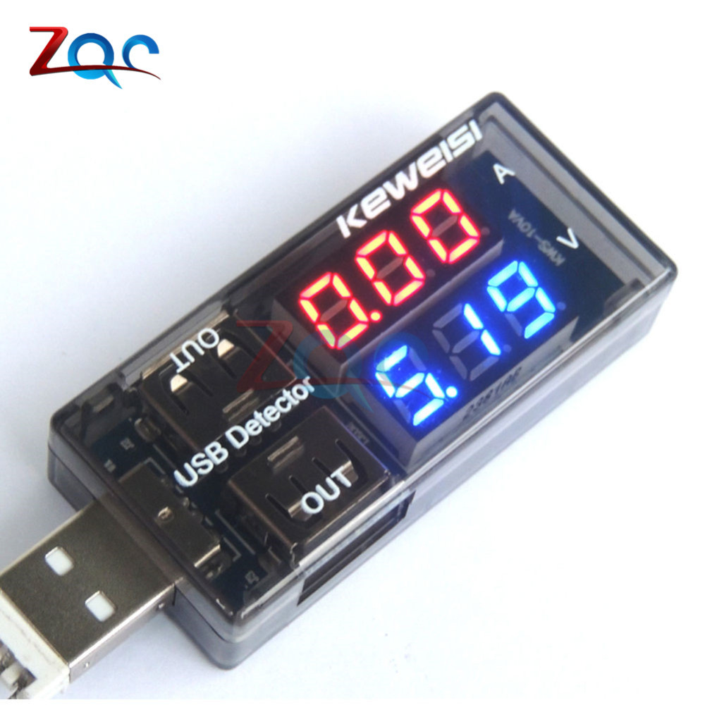 Dual USB Current <font><b>Voltage</b></font> Charging Detector <font><b>Tester</b></font> <font><b>Battery</b></font> Voltmeter Ammeter Charger Doctor Red Blue display