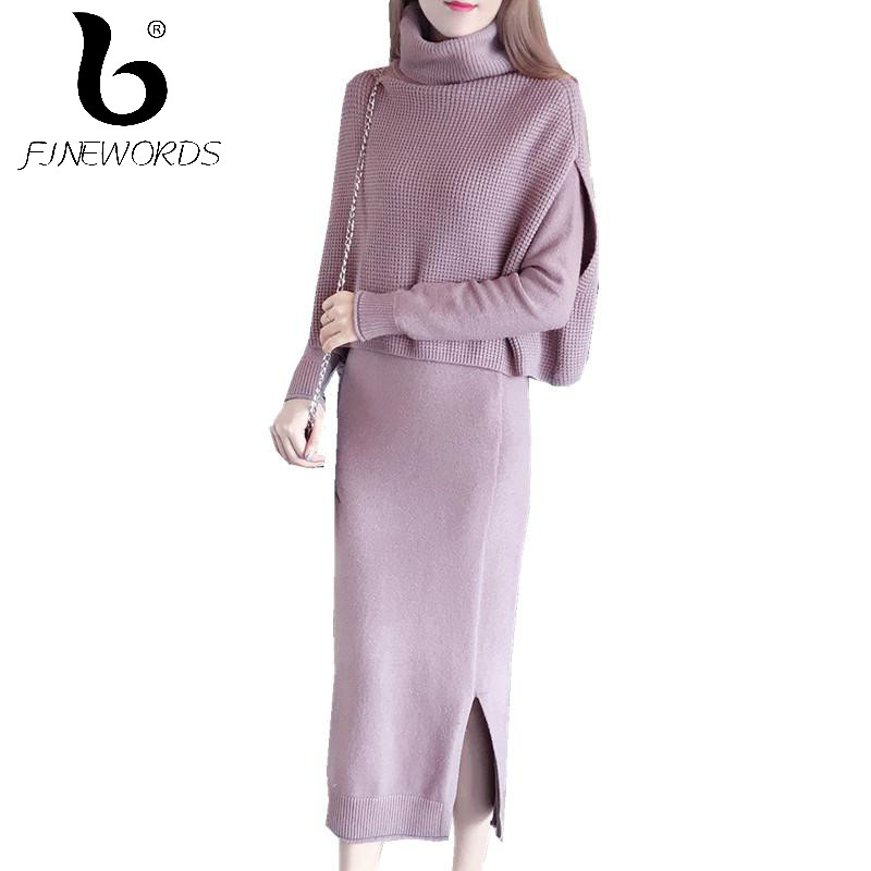 FINEWORDS Turtleneck Winter Sweater Dress Elegant Pencil Dress Slim Pull Femme Package Hip Long Knitted Dresses Bodycon 2 Pieces