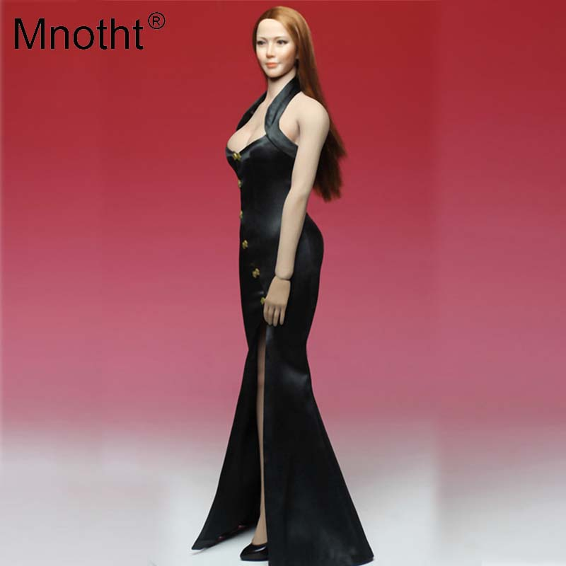 Mnotht 1/6 Soldier Dress Cheongsam Slit Skirt sexy Model GIrl Evening Dress Clothes Black/Blue Toys For 12'' Action Figure m2n slit back contrast feather pencil skirt
