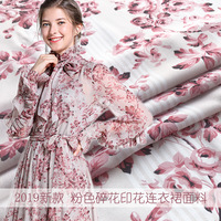 2019 new pink floral print dress shirt fabric spring and summer polyester printing fashion micro transparent hot 145cm wide