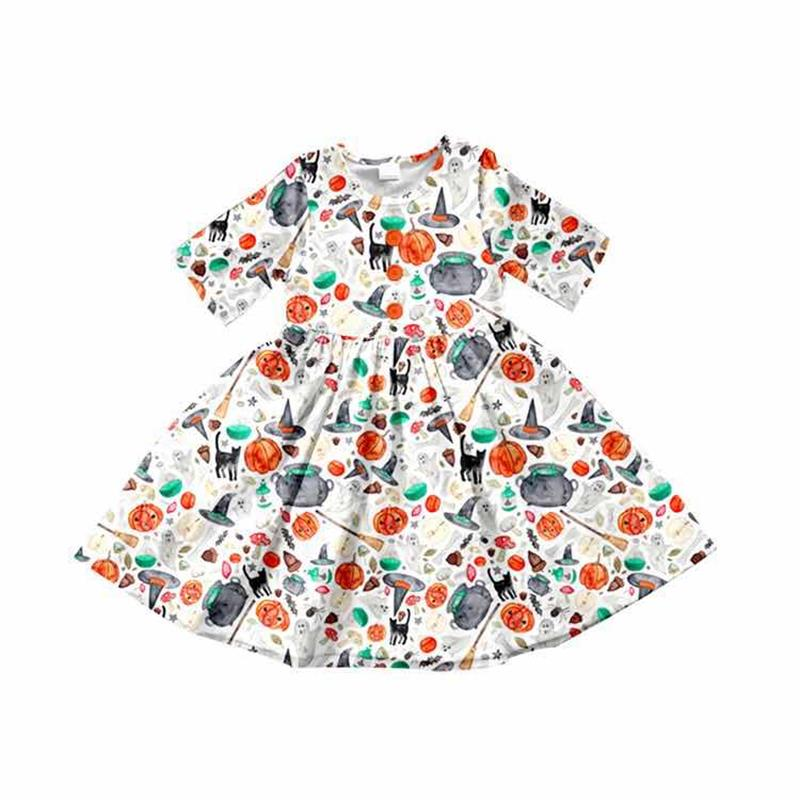 2019 Halloween dress for baby girls pumpkins hat cat children's clothing boutique summer short sleeve dresses gxj(China)
